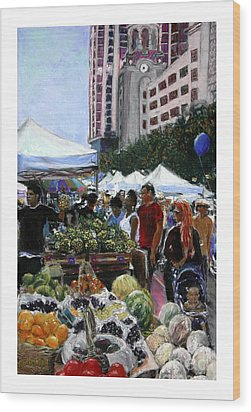 Saturday Morning Market Wood Print by Barry Rothstein