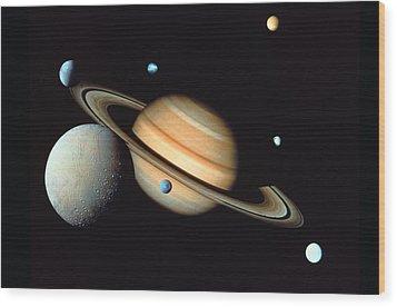 Saturn And Satellites Wood Print by John Foxx