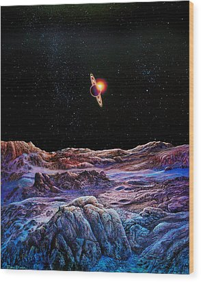 Saturn From Iapetus Wood Print by Don Dixon