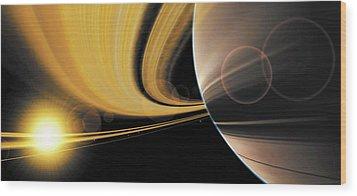 Saturn Glory Wood Print by Don Dixon