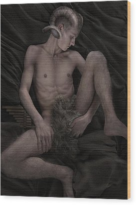 Satyr At Rest Wood Print by John Clum