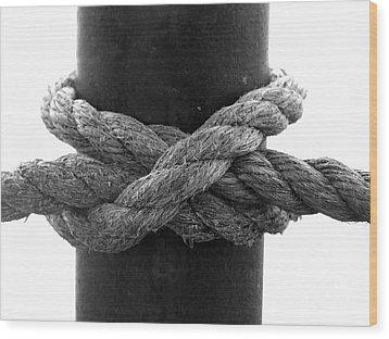 Saugerties Lighthouse Rope Knot Photograph Wood Print by Kristen Fox