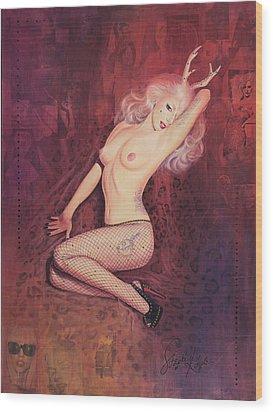 Savage Gaga A La Marilyn Wood Print by Stapler-Kozek