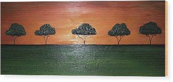 Savannah Sunset Wood Print by Edwin Alverio