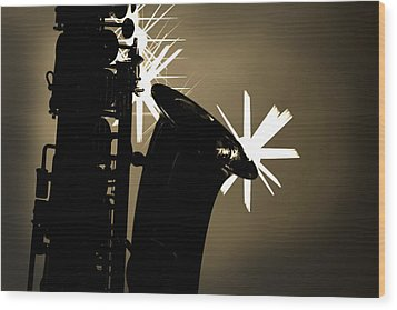 Sax Black And White Wood Print by M K  Miller