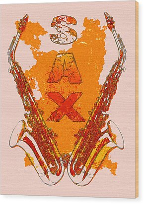 Sax Wood Print by David G Paul