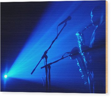 Sax In Blue Wood Print by Anthony Citro