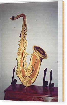 Saxaphone Wood Print by Val Oconnor