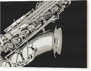 Saxophone Black And White Wood Print by M K  Miller