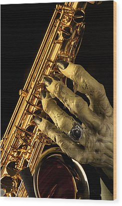 Saxophone Monster Hand Wood Print by M K  Miller