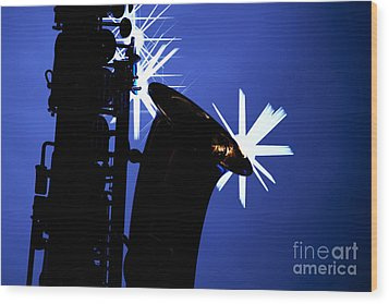 Saxophone Silhouette On Blue Wood Print by M K  Miller