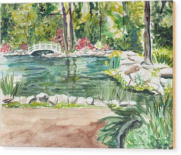 Wood Print featuring the painting Sayen Pond by Clara Sue Beym