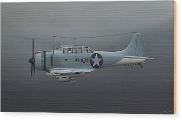 Wood Print featuring the digital art Sbd Dive Bomber by Walter Colvin