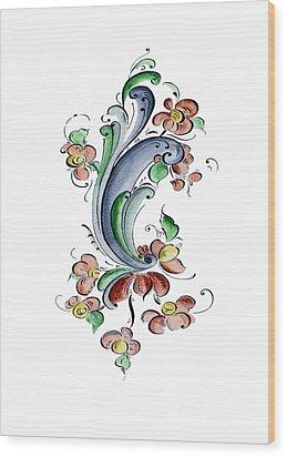 Scandinavian Flower I Wood Print by Judy Dodds