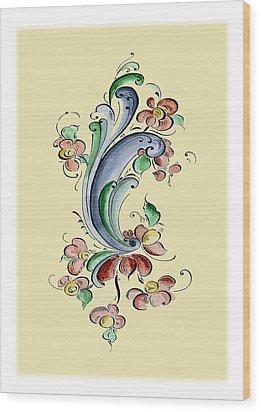 Scandinavian Flower II Wood Print by Judy Dodds