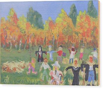 Scarecrow Contest Wood Print by Robert P Hedden