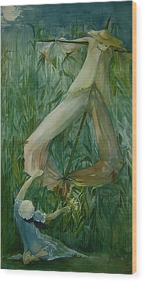 Scarecrow Wood Print by Jackie Rock