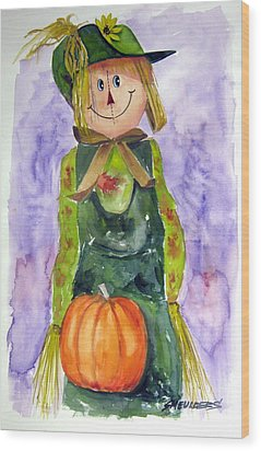 Scarecrow Wood Print by John Smeulders