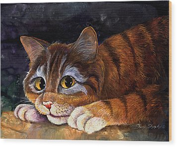 Scaredy Cat Wood Print by Sherry Shipley