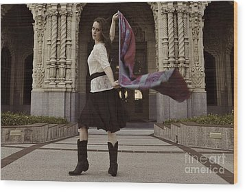 Wood Print featuring the photograph Scarf Wrap by Sherry Davis