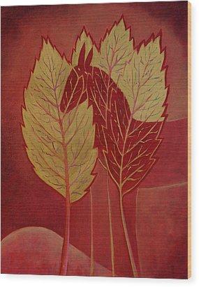 Wood Print featuring the painting Scarlet Dream by Tone Aanderaa