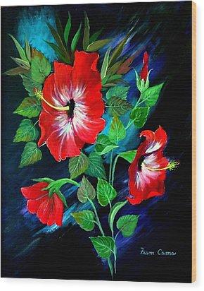 Scarlet Hibiscus Wood Print by Fram Cama