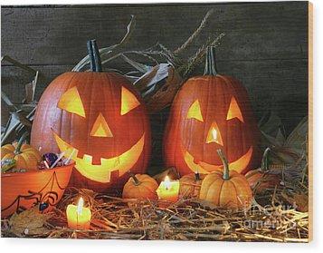 Scarved Jack-o-lanterns  Wood Print by Sandra Cunningham