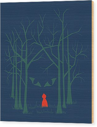 Scary Home Wood Print by Illustrations