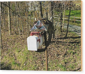 Wood Print featuring the photograph Scary Mailbox 3 by Sherman Perry