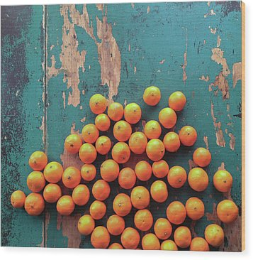 Scattered Tangerines Wood Print by Sarah Palmer