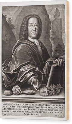 Scheuchzer Portrait 17th/18thc Naturalist Wood Print by Paul D Stewart
