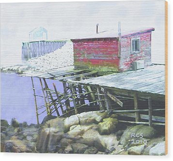 Schoodic Pier Wood Print by Richard Stevens