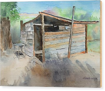 Wood Print featuring the painting School Cooking Shack - South Africa by Arline Wagner