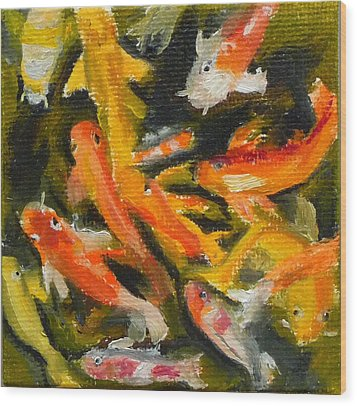 Wood Print featuring the painting School Of Koi by Jessmyne Stephenson