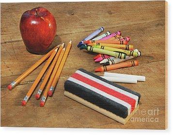 School Supplies  Wood Print by Sandra Cunningham