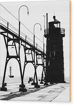 Wood Print featuring the photograph Schooner And Lighthouse by Coby Cooper