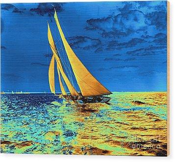 Schooner Ariel's Golden Sails 1899 Wood Print by Padre Art