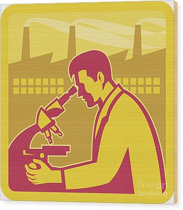 Scientist Researcher Factory Building Retro Wood Print by Aloysius Patrimonio