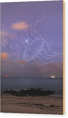Scorpio In A Night Sky Wood Print by Laurent Laveder