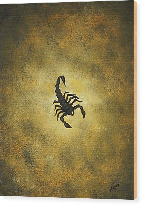 Wood Print featuring the painting Scorpion by Edwin Alverio