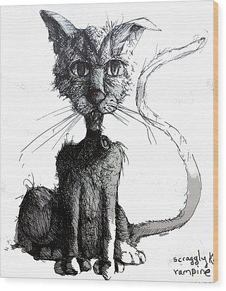 Scraggly Vampire Kiittie Wood Print by Neal Cormier