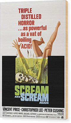 Scream And Scream Again, 1-sheet Poster Wood Print by Everett