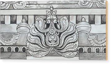 Sculpture Design Wood Print by Shashi Kumar