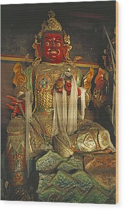 Sculpture Of Wrathful Protective Deity Wood Print by Gordon Wiltsie