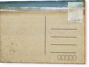 Sea Beach On Postcard  Wood Print by Setsiri Silapasuwanchai