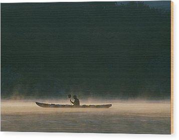 Sea Kayak Silhouette On Potomac River Wood Print by Skip Brown