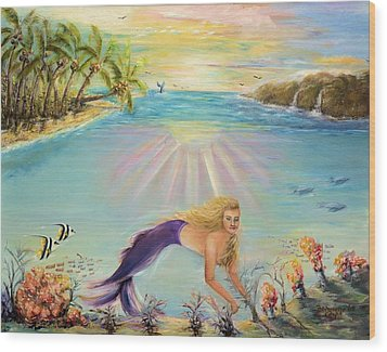 Sea Mermaid Goddess Wood Print by Bernadette Krupa