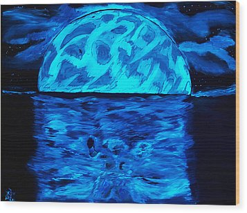 Wood Print featuring the painting Sea Of Troubles Black Light by Lisa Brandel