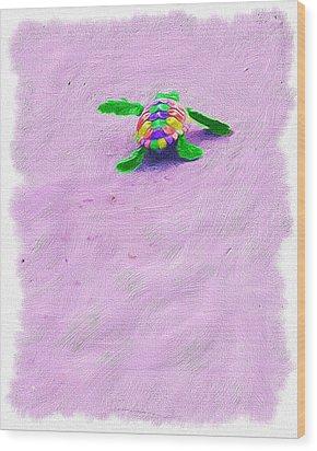Sea Turtle Escape Wood Print