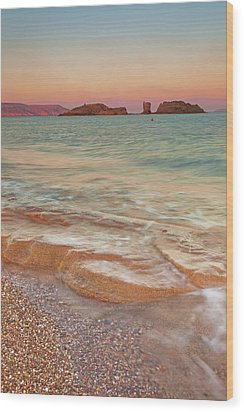 Sea Waves, Sitia,greece Wood Print by © Mitrakoulis Alexandros